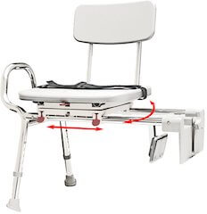 Snap-n-Save Sliding Tub-Mount Transfer Bench with Swivel Seat & Back
